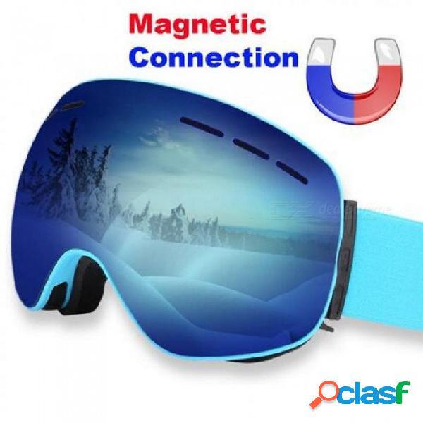 Gafas de esquí magnéticas doble lente antivaho uv 400 gafas de esquí hombres mujeres esquí snowboard monopatín gafas de nieve máscara de esquí oro negro