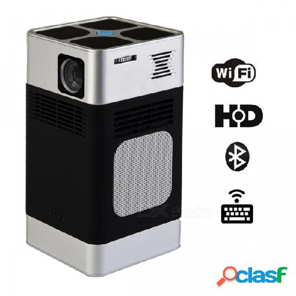 Pc01 portátil mini dlp led hd proyector 3d soporte wi-fi bluetooth de alto brillo con teclado láser - negro (enchufe de la ue)