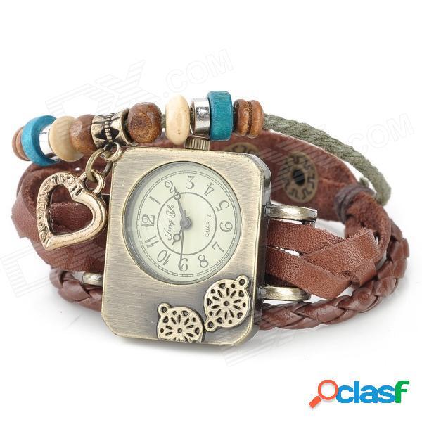 Reloj de pulsera analógico con esfera rectangular de cuero de vaca dividida en banda vaca - marrón + bronce (1 x ag4)