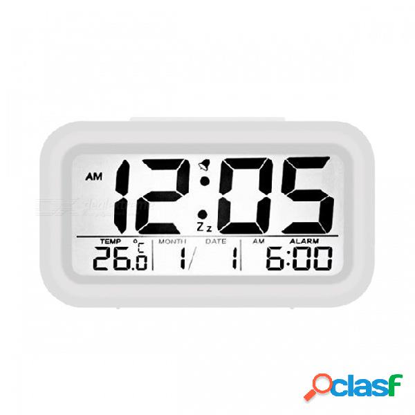 Reloj despertador digital bstuo con pantalla lcd, luz de despertador electrónica, reloj de mesa con sensor de luz nocturna