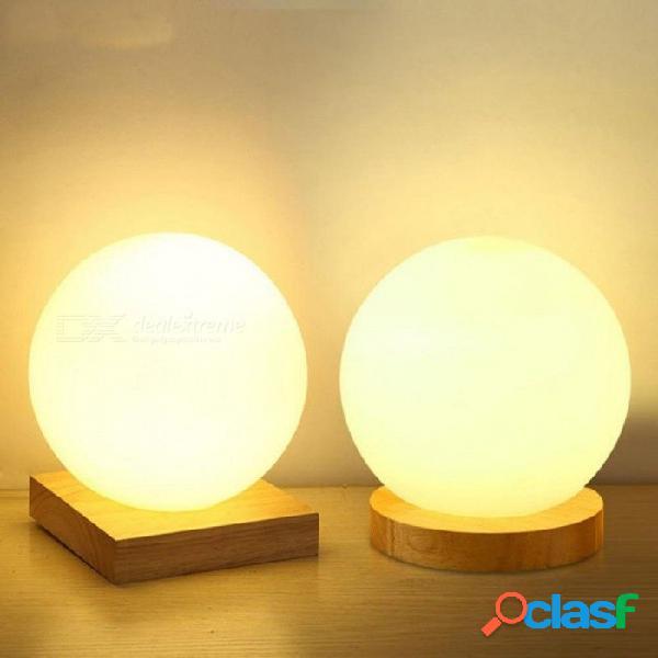 Simple vidrio creativo cálido dimmer luz nocturna escritorio dormitorio cama decoración bola de madera pequeña lámpara de escritorio 15cm interruptor de botón / base redonda