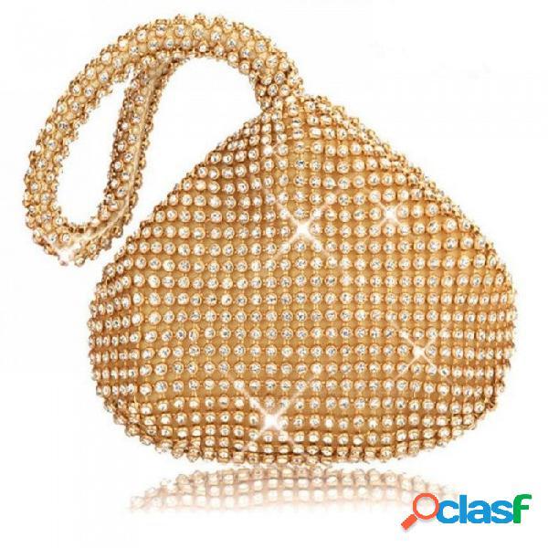 Bolso de noche de la mujer mujer diamante rhinestone embrague cristal día embrague señora cartera bolso de la boda