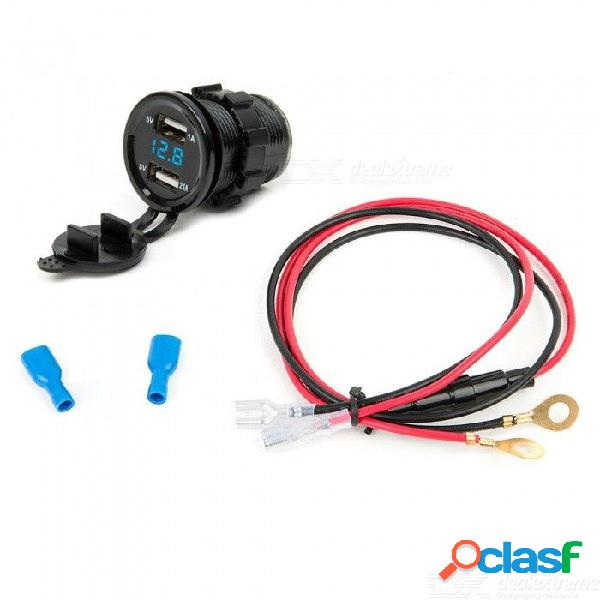 Cargador usb dual para automóvil eastor 3.1a, con voltímetro de luz verde / rojo / azul con cable de 60 cm