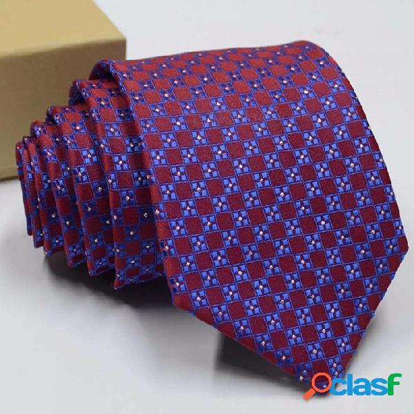 Corbata de jacquard de poliéster para hombres, estampado de moda, corbata con patrón para trajes de bodas o negocios, rojo
