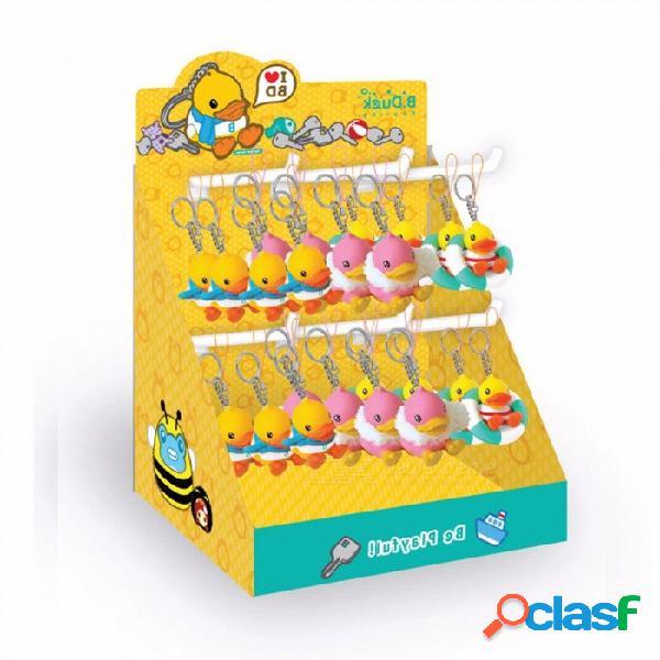 Dibujos animados pato llavero figura de acción juguetes coleccionables vinilo muñecas pvc llavero para coche amarillo