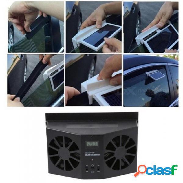 Energía solar ventana del coche parabrisas auto ventilación de aire de refrigeración doble sistema de ventilador plegable enfriador car styling negro