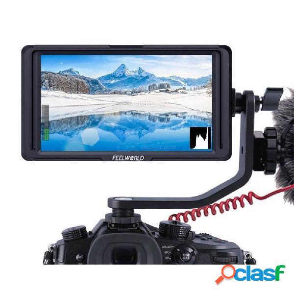 Feelworld f5 5 pulgadas cámara dslr monitor de campo ips full hd 1920x1080 compatible con 4k entrada hdmi salida potencia del brazo de inclinación