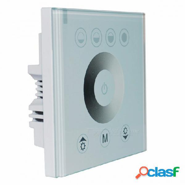 Interruptor de luz de la pared del hogar del regulador del regulador del panel táctil de un solo color para la luz de tira del led - blanco