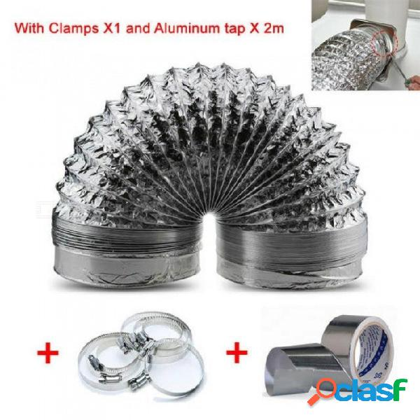 Tamaño para tubo flexible de ventilador de escape de 100 mm x 1,5 m de longitud y tubo de aluminio de 4 pulgadas y manguera de ventilación de 1 m de longitud longitud de 1 m