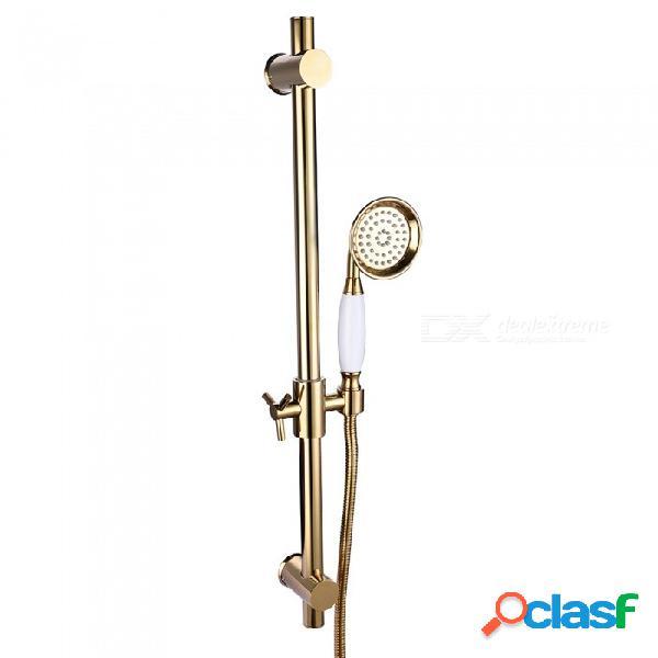 Barra corredera de ducha de metal de latón con altura ajustable y cabezal de ducha y manguera para baño - dorado