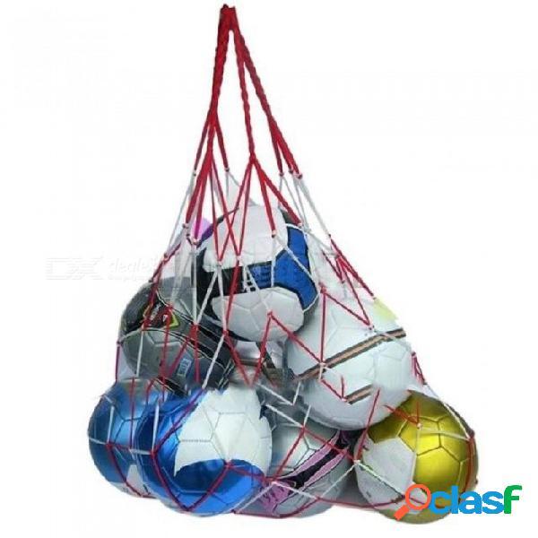 Bolsa de red de fútbol de deportes al aire libre 10 bolsa de red de bola de fútbol portátil de baloncesto bola 90cm de largo con bolsa de red de color rojo