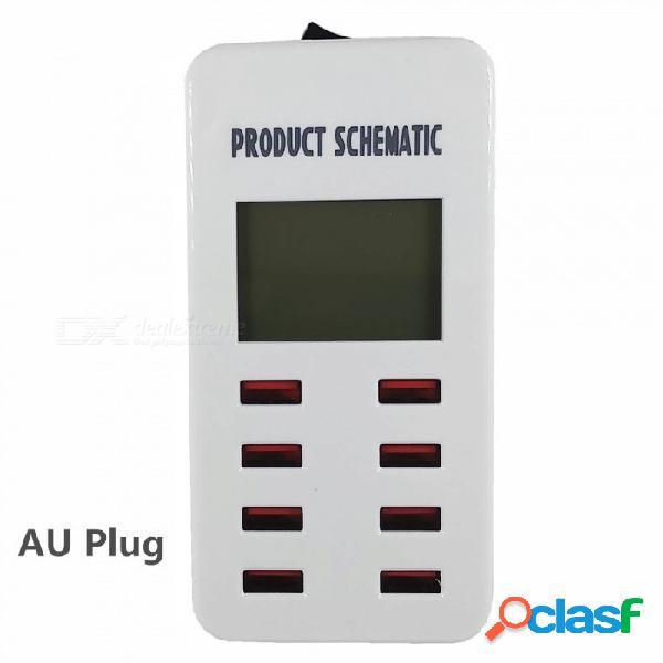 Cargador elegante del adaptador de la estación de carga del indicador digital de los puertos usb de 5v 7a 8 para el teléfono / mesa / mp4 / psp