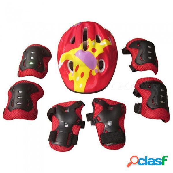 Casco de bicicleta 7pcs conjunto de seguridad deportiva engranaje codo muñecas rodilleras y protector de casco para niños patineta azul