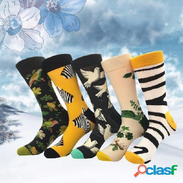 Europeo y americano de moda nueva moda calcetín personalidad graffiti serie de color de golpe flor pájaro de algodón calcetines para hombre multi