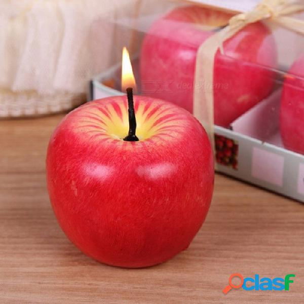 Forma de manzana roja fruta artificial vela perfumada, regalo de boda decoración del hogar valentine \\ 's day navidad vela lámpara l / rojo