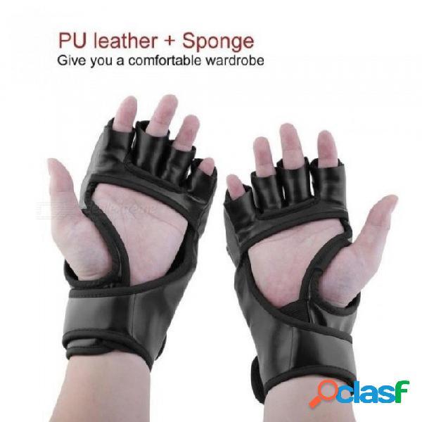 Guantes de boxeo mma ufc sparring pelea lucha boxeo punch ultimate mitts guantes de cuero negro blanco 23 x 12 cm negro