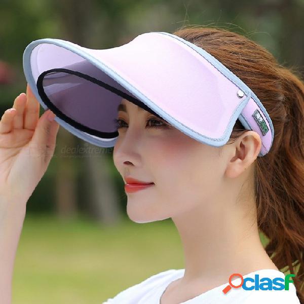 Moda casual doble capa superior vacío tapa cortina femenina verano borde grande protección solar uv protección mujeres sol sombrero verde