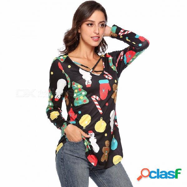 Nueva camiseta de navidad de manga larga con cuello en v muñeco de nieve de impresión camisas delgadas para mujeres wq063 negro / s