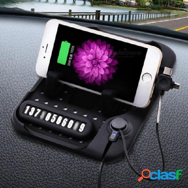 Soporte antideslizante del teléfono del coche de la almohadilla del silicón android / ios / tipo c soporte base magnético de la carga del usb soporte gps sostenedor del coche soporte negro ki