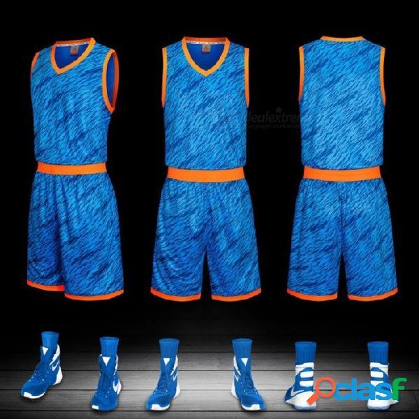 Verano baloncesto deportes jerseys cortos conjunto traje de entrenamiento sin mangas chaleco transpirable ropa azul / l
