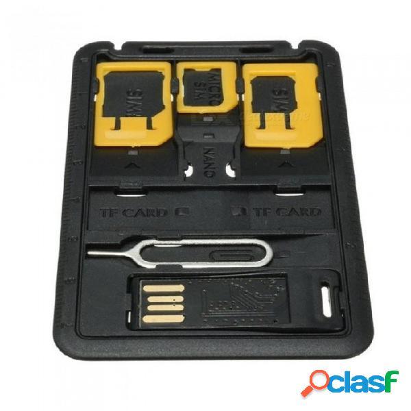 5 en 1 mini kits de caja de almacenamiento universal adaptador de tarjeta sim para nano tarjeta sim micro tarjeta de memoria titular de la cubierta del caso del lector negro