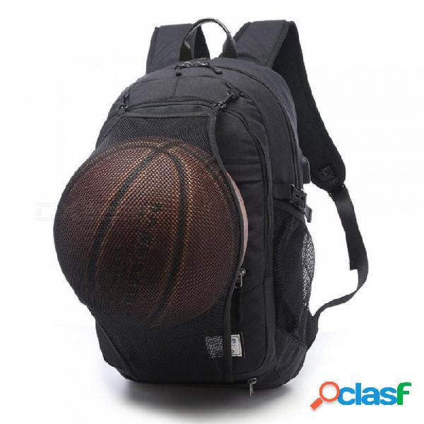Bolsa de deportes negro al aire libre entrenamiento de la aptitud bolsa de baloncesto hombre mochila 15.6 pulgadas portátil mochila deportes bolsa de gimnasio de fútbol paquete masculino gris