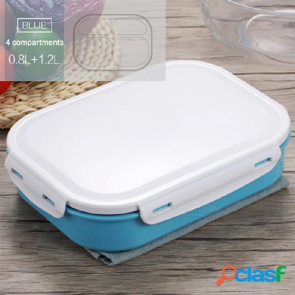 Caja de almuerzo de acero inoxidable estilo japonés 304 con cuatro compartimentos recipiente de comida de picnic caja bento para niños de la escuela - azul