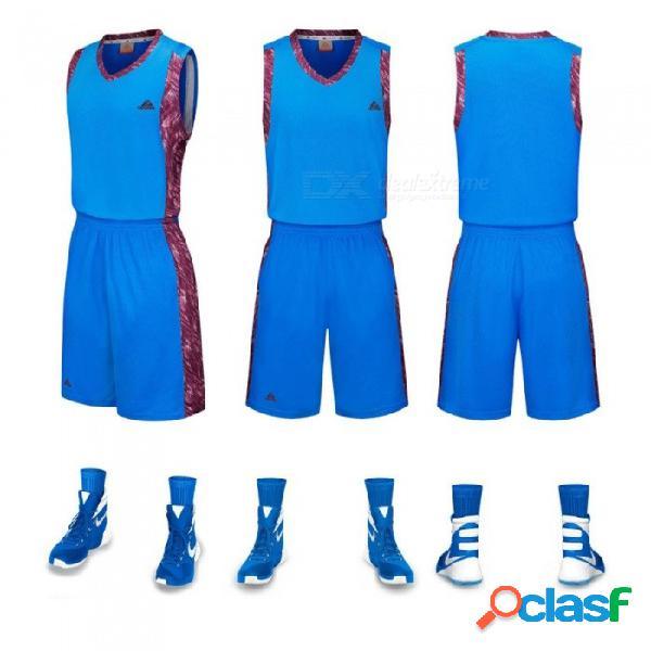 Conjunto de pantalones cortos de camiseta deportiva de baloncesto conjunto sin mangas chaleco transpirable de entrenamiento de secado rápido azul / l
