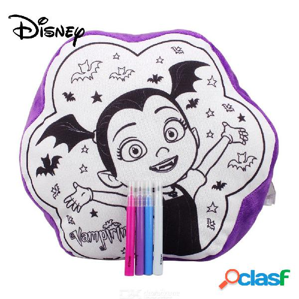 Disney vampirina colorea tu propia almohada, disney decorable pillow para niños w / 4 pcs marcadores de color