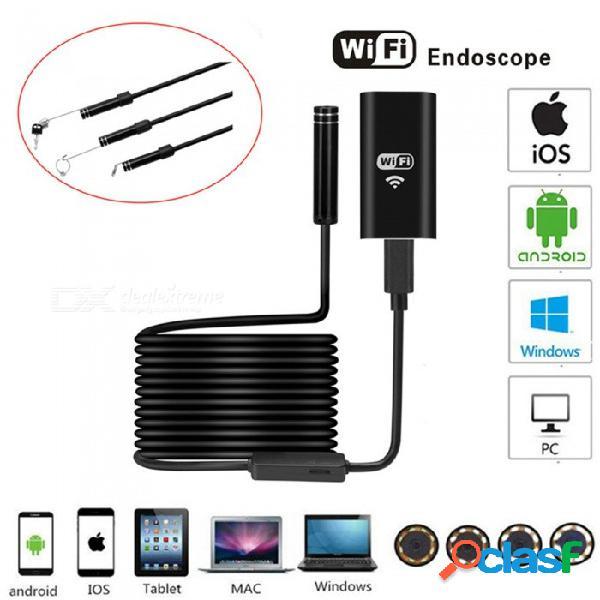 Esamact 1m usb cámara de endoscopio wi-fi, mini cámara de inspección de cable suave a prueba de agua, 8 mm ios boroscopio para iphone