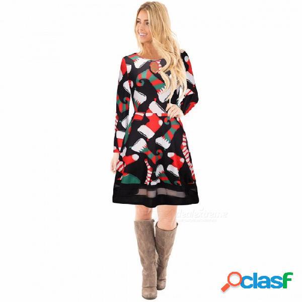 Feliz navidad estampados vestidos de manga larga para mujer santa skater ciervos estampado floral muñeco de nieve para mujer vestido negro / s