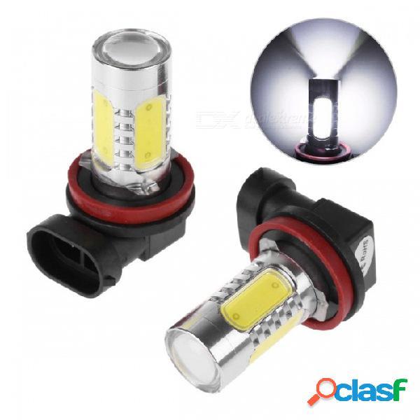 H11 cob led bombilla blanca lámpara de xenón auto faros antiniebla luz frontal dc 12v - blanco (2pcs)