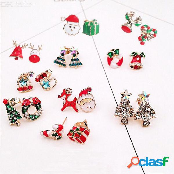 Nueva moda alces muñecos de nieve árbol encantador campana joyas navidad pendientes para las mujeres regalos
