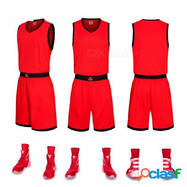 Nuevos pantalones cortos deportivos de baloncesto conjunto transpirable traje de entrenamiento de secado rápido, uniforme personalizado, rojo / l