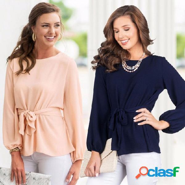 Otoño nuevas blusas o-cuello suelta color sólido gasa superior linterna camisas de manga larga para mujeres beige / s