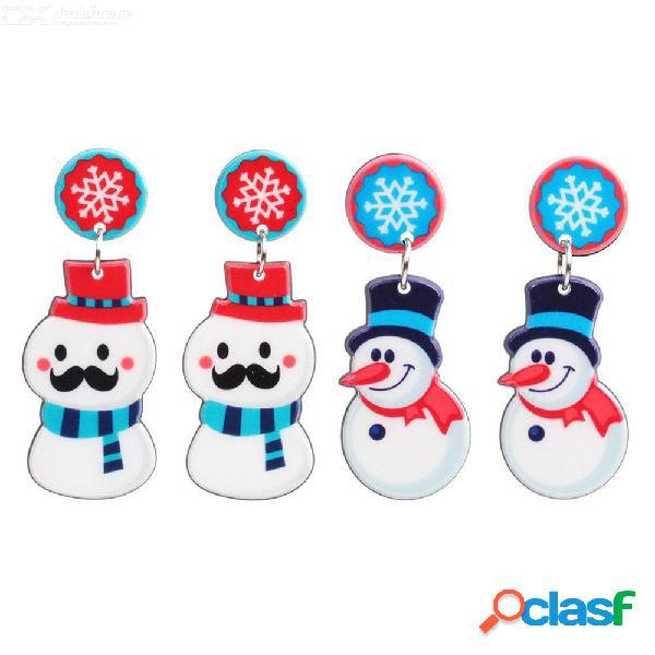 Pendientes preciosos de la joyería de la navidad del muñeco de nieve de la aleación del cinc para las mujeres regalos ew-0037