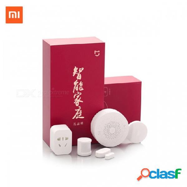 Xiaomi domótica inteligente mijia kit portátil 5 en 1, puerta de enlace led 2 interruptor wi-fi zigbee sensor socket blanco