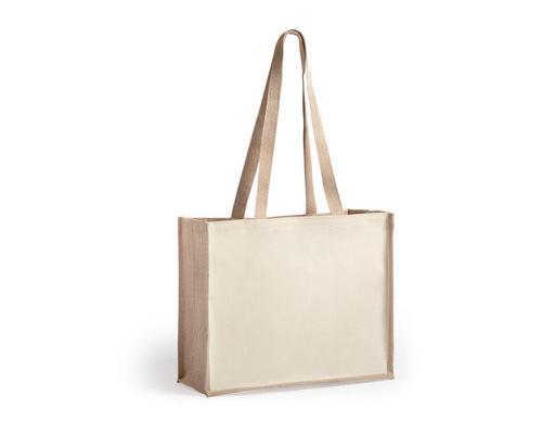 Bolsa de yute y algodón asas largas - bolsa playa