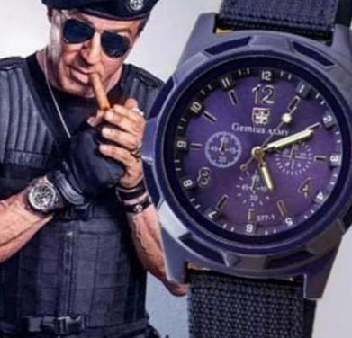 Reloj cuarzo azul marino -deportivo militar