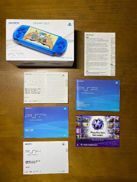 Psp 3000 blue & black edition + 128gb + caja