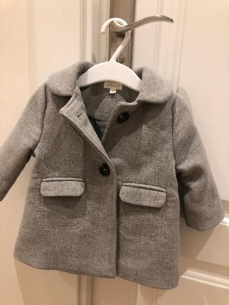 Abrigo paño gris gocco 6-9 meses + regalo gorro