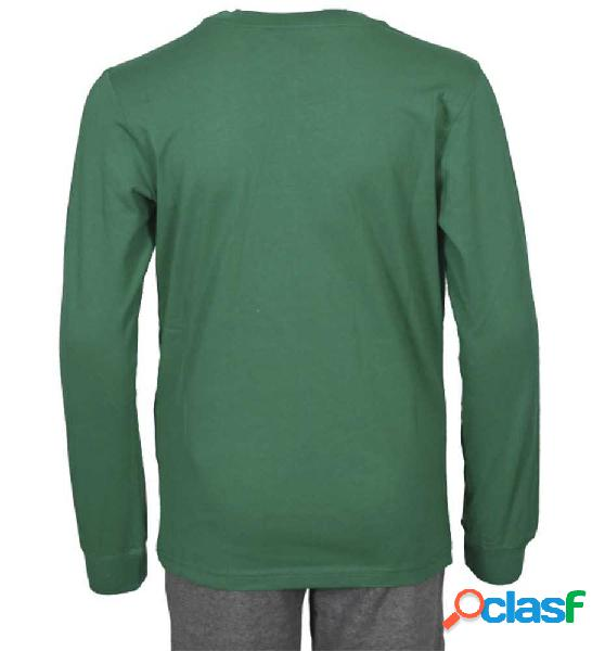 Camiseta manga larga casual para hombre champion chip long sleeve crewneck m verde