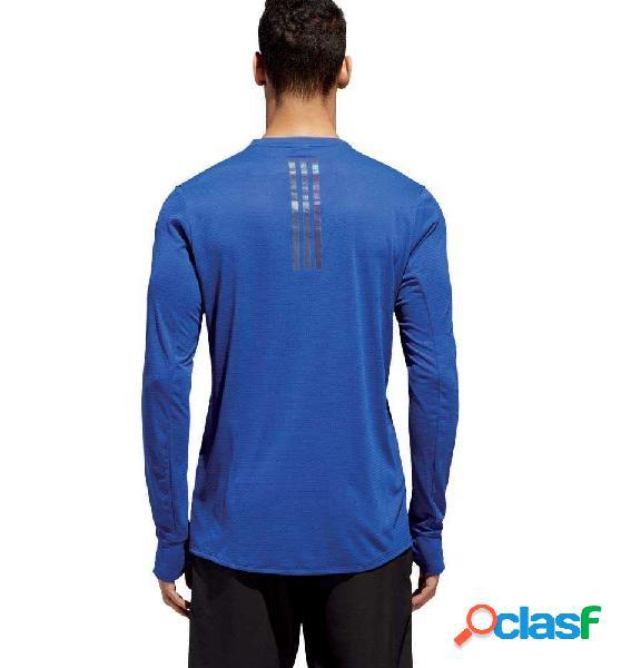 Camiseta m/l running adidas supernova tee azul m