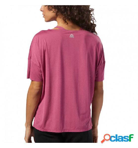 Camiseta m/c fitness reebok perforated tee twiber l rosa