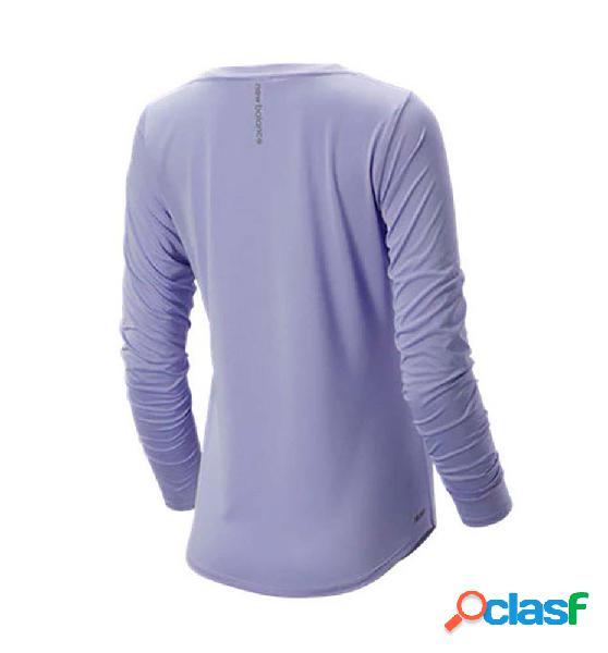 Camiseta running mujer manga larga new balance accelerate lila s