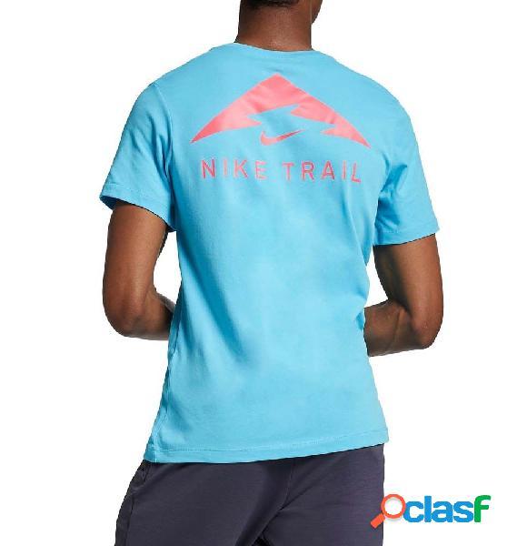 Camiseta running hombre nike dri fit manga corta azul m