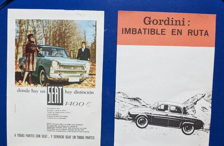 2 anuncios de coche gordini y seat 1400, del año 1963. vell
