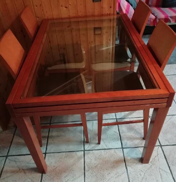 Mesa comedor madera cristal