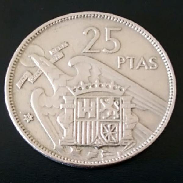 Moneda 25 pesetas 1957 e.61 plus ultra