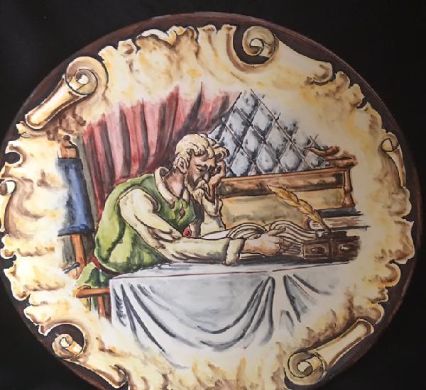 Plato de don quijote y sancho panza, leyendo 31cm pintado a